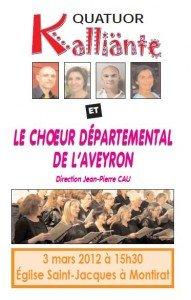 Affiche Concert des Deux Rives samedi 3 mars St Jacques de Montirat