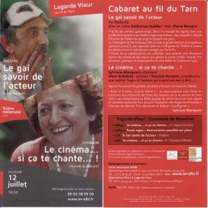 Programme Cabaret au fil du Tarn Lagarde Viaur 12 juillet 2013